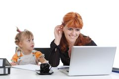 Girl with her mother in the office. Royalty Free Stock Images