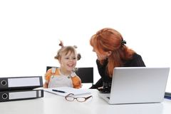 Girl with her mother in the office. Stock Photography