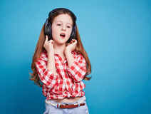 Girl and her music style Stock Photo