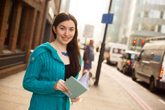 Girl with her notebook Stock Photo