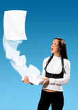 Girl and her papers Stock Photography