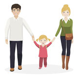 Girl with her parents. Walking to school Stock Photography