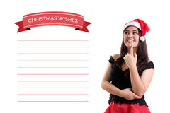 Girl and her personal Christmas Wishes Stock Photo