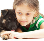Girl and her pet Stock Image