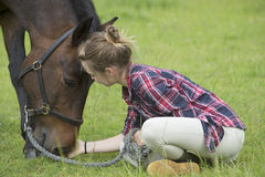 Girl with her pet pony Royalty Free Stock Photos