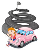 A girl and her pink racing car. Illustration of a girl and her pink racing car on a white background Royalty Free Stock Photography