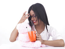 Girl and her pink teddy bear Royalty Free Stock Image
