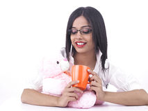 Girl with her pink teddy bear Royalty Free Stock Photo