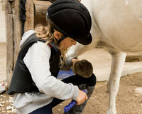 Girl and her pony. Little girl cleaning the pony hoof Stock Image