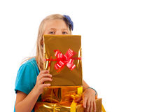 Girl and her presents Stock Photos