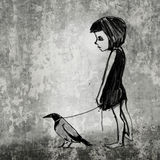 Girl with her raven.   Royalty Free Stock Photos