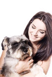 Girl with her Schnauzer Stock Photography