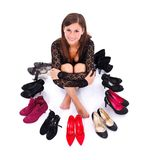 Girl with her shoes Stock Image