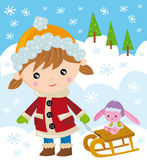Girl with her sleigh stock illustration