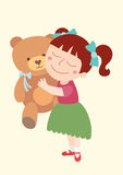 Girl with her teddy bear Royalty Free Stock Photography