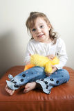 Girl with Her Teddy Bear Stock Image
