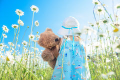 Girl with her teddy bear walking in field of daisies Stock Photography