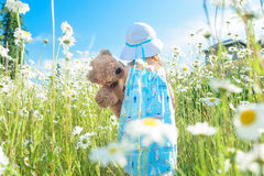 Girl with her teddy bear walking in field of daisies Stock Image
