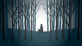 Girl with her teddy bear walking lost through a creepy forest vector illustration
