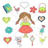 Girl and her things Stock Photo