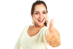 Girl with her thumb up Stock Images