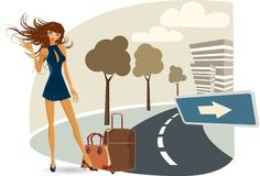 The  girl on her travel Royalty Free Stock Photography