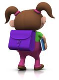 Girl on her way to school. Cute brownhaired girl with a satchel on her back and a book under her arm walking to school - 3d rendering/illustration Royalty Free Stock Images