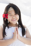 Girl with hibiscus  flower Stock Image