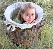 The girl hid in a wattled basket Stock Image
