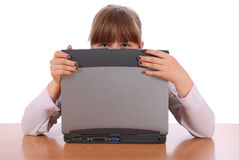 The girl is hidden for laptop Stock Image