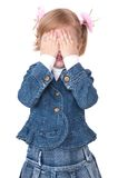 Girl hide face under hands Stock Photo