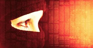 The anonymity of the Internet background. The girl hides her face under the mask. The man is a criminal. Hacker in a mask. The anonymity of the Internet. Data stock photography
