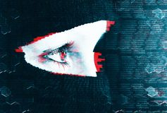 Glitch effect anonymity of the Internet background. The girl hides her face under the mask. The man is a criminal. Hacker in a mask. The anonymity of the stock photo