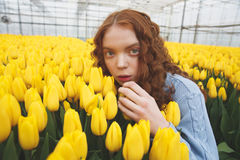 Girl hiding in flowers Royalty Free Stock Images