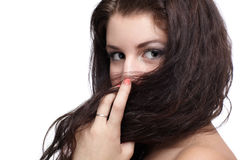 Girl hiding in hair Royalty Free Stock Photos
