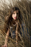 Girl hiding in the high grass Royalty Free Stock Photos