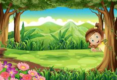 A girl hiding at the jungle. Illustration of a girl hiding at the jungle Stock Photography