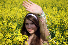 Girl hiding from the sun Stock Photography