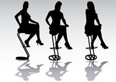 Girl in a high chair. Vector drawing a girl in a high chair. Silhouette on white background Stock Image