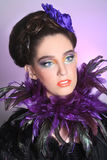 Girl in High Fashion Make Up and Fetahers Royalty Free Stock Photo