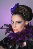 Girl in High Fashion Make Up and Fetahers Royalty Free Stock Images