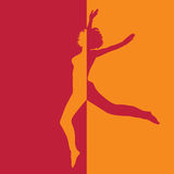 Girl in high jump in two colors illustration Royalty Free Stock Photo
