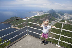 Girl at a high viewing platform Royalty Free Stock Image