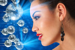 Girl in hight disco club royalty free stock images