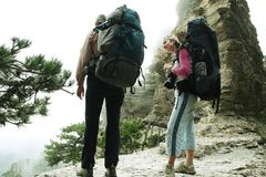 Girl in hike Stock Images