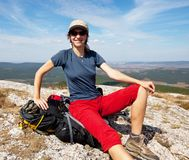 Girl in hike Stock Photography