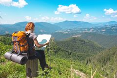 A girl hiker stock photography