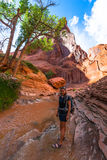 Girl Hiker Backpacker in Coyote Gulch Escalante Stock Photography