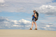 Girl hiker in desert Stock Photos