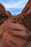 Girl hiker on a Devils Garden trail to Double O Arch Stock Image
